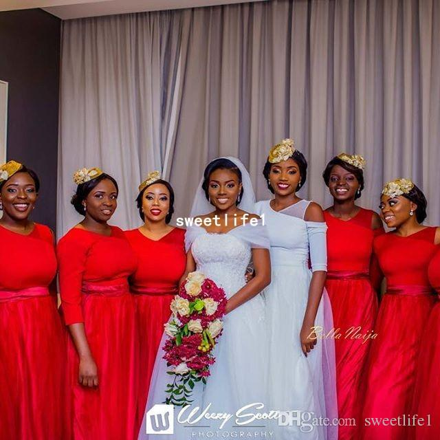 2019 South Africa Red Bridesmaid Dresses With 3/4 Long Sleeve A Line Small V Neck Maid Of Honor Wedding Guest Gown Custom Made