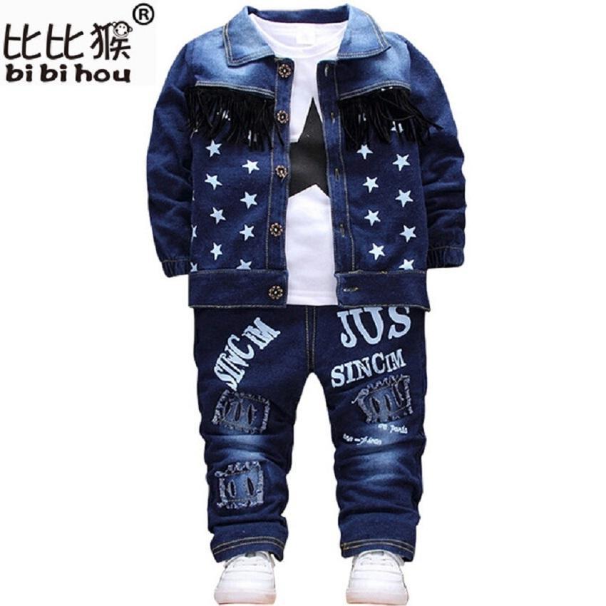 Bebê Criança Esporte Roupas Terno crianças Conjunto de Roupas de Algodão Menino Roupas Jeans Jeans Casaco T-shirt Calças 3 PCS Star Treino Crianças Y1892906