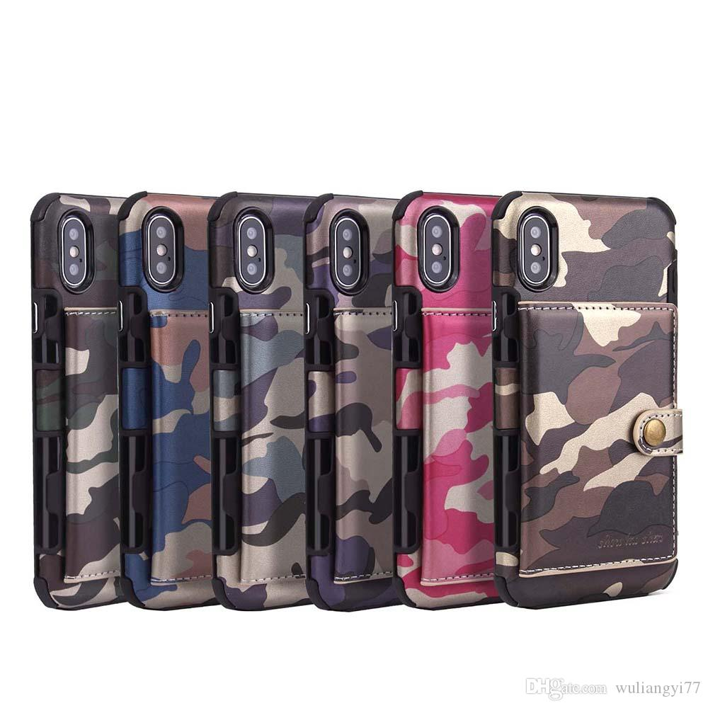 Card Holder Wallet Leather Case for iPhone X 7 8 Camouflage Phone Cases for iPhone 7 8 Plus Smart Phone Case