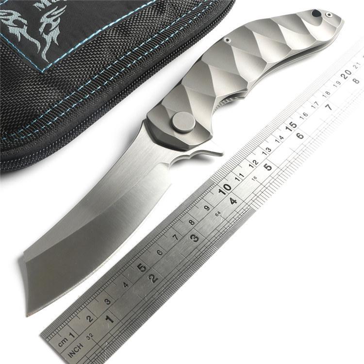 Magic Chaves Grand rasoir tactique Flipper roulement à billes Pliant Couteau D2 lame Titanium Camping Chasse Survie Couteaux Extérieurs EDC Outils