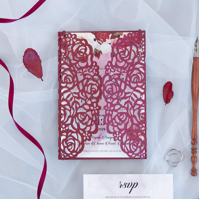 50 Set Design Burgundy Color Wedding Invitations Fold FLower Customizes Blank Inisde Cards Print Lace Convites Greeting Card