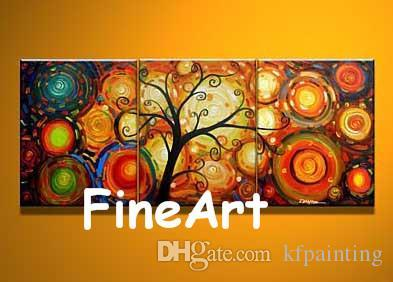hand-painted on canvas group acrylic wall painting discount tree oil painting wall decor quotes canvas set decoration painting