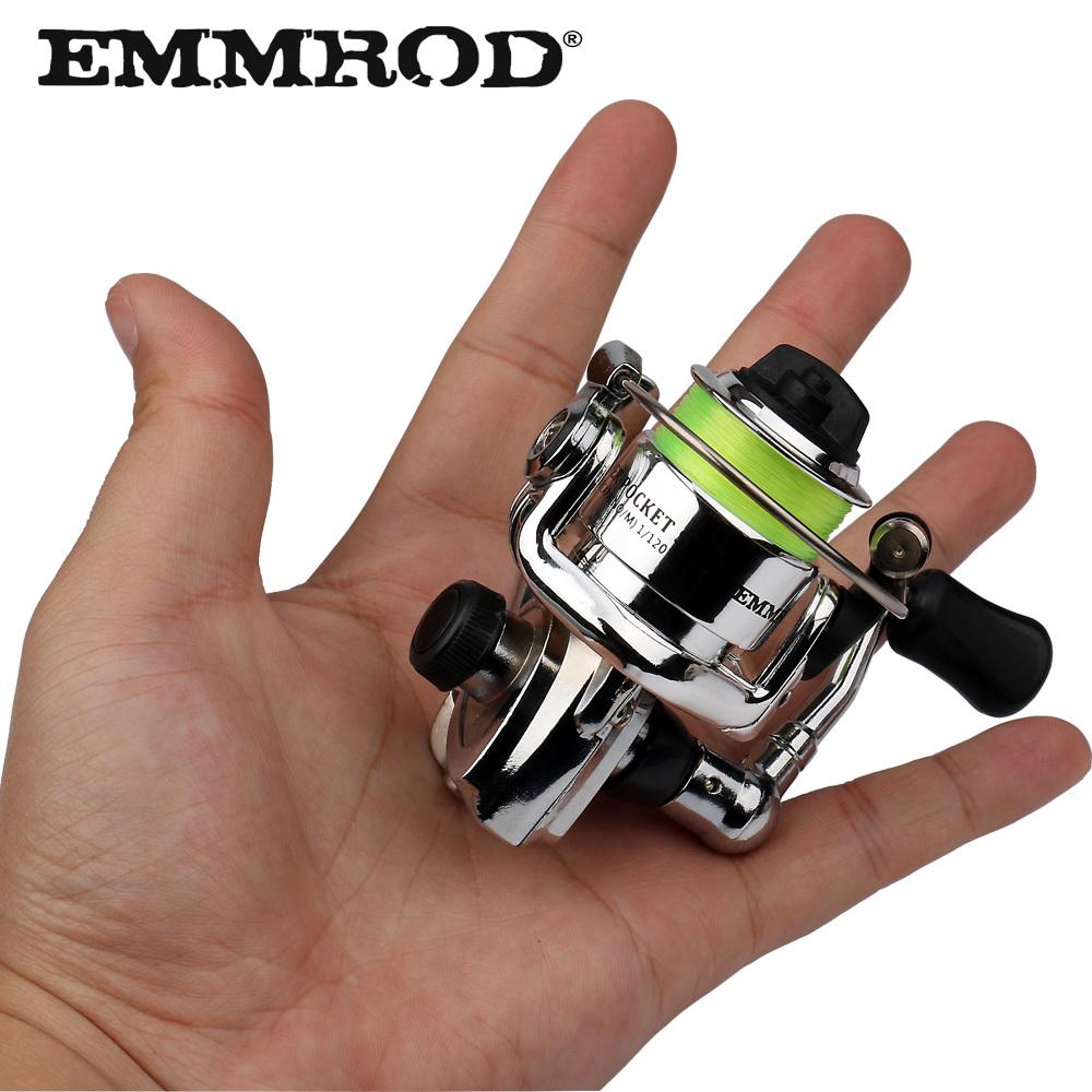 EMMROD HOT Mini100 Pocket Spinning Fishing Reel Aleación de aparejos de pesca Small Spinning Reel 4.3: 1 Metal wheel pesca Small Reel Y18100706