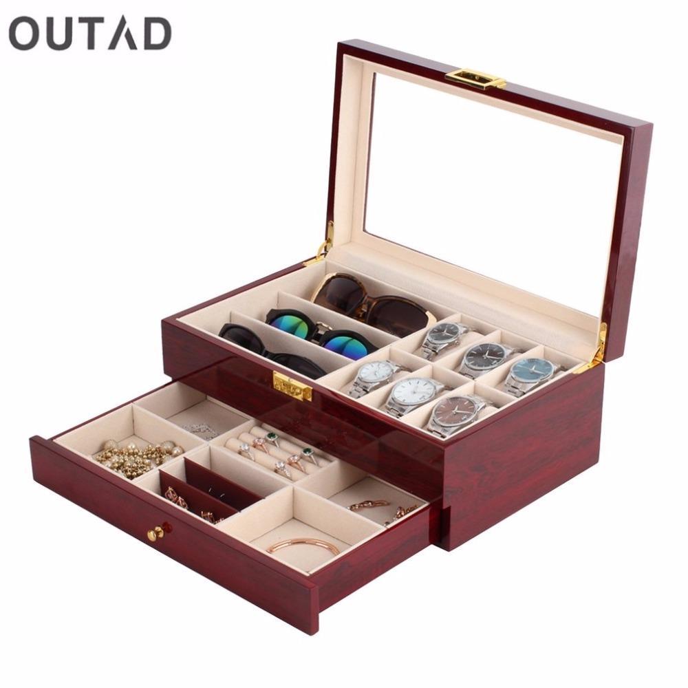 OUTAD Ataúd Caja de reloj de madera Capas dobles Ante de gamuza Pintura exterior Almacenamiento de joyas Reloj Pantalla Ranura Caja Contenedor Organizador