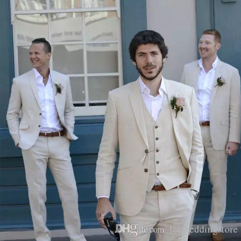 Summer Ivory Beige Beach Linen Men Suits Wedding Suit Best Man Custom Made Bridegroom Groomsmen Groom Wear Tuxedo Blazer Jacket+Vest+Pants