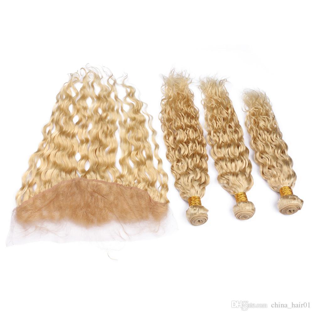 # 613 Fasci di capelli umani vergini peruviani biondi bagnati e ondulati con chiusura frontale in pizzo 13x4 onda d'acqua candeggina capelli biondi trame vergini