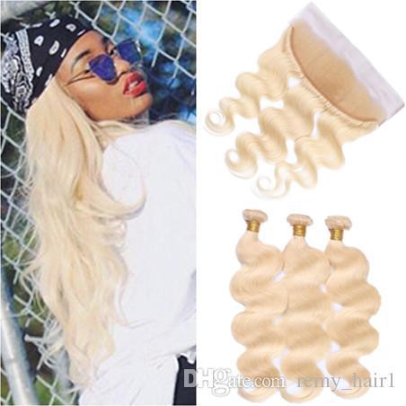 # 613 Bleach Blonde Russian Russian Human Hair 3Bundles con Frontal Body Wave Blonde Full Lace Frontal Cierre con extensiones de tejidos