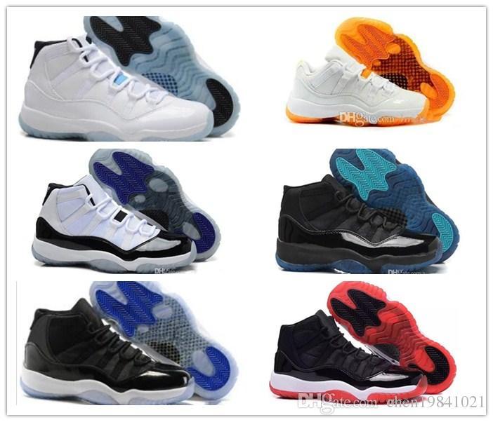 2018 جديد 11 XI أحذية كرة السلة للرجال والنساء الأبيض الأولمبية كونكورد غاما الأزرق اسكواش الأحمر الداكن اللثة حذاء رياضة ذهبي لامع