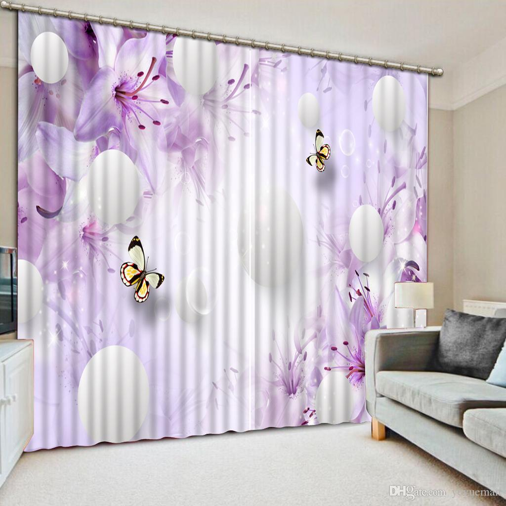 Hermosa cortina opaca 3D Habitación romántica de bodas Dormitorio Sala de estar Cortinas Flor