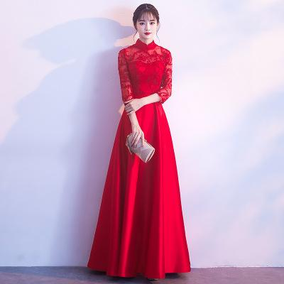 DH9363 Evening Dress Long 6Colours Qipao Cheongsam Sexy Chinese Traditional Women Party Dresses Oriental Wedding Gowns