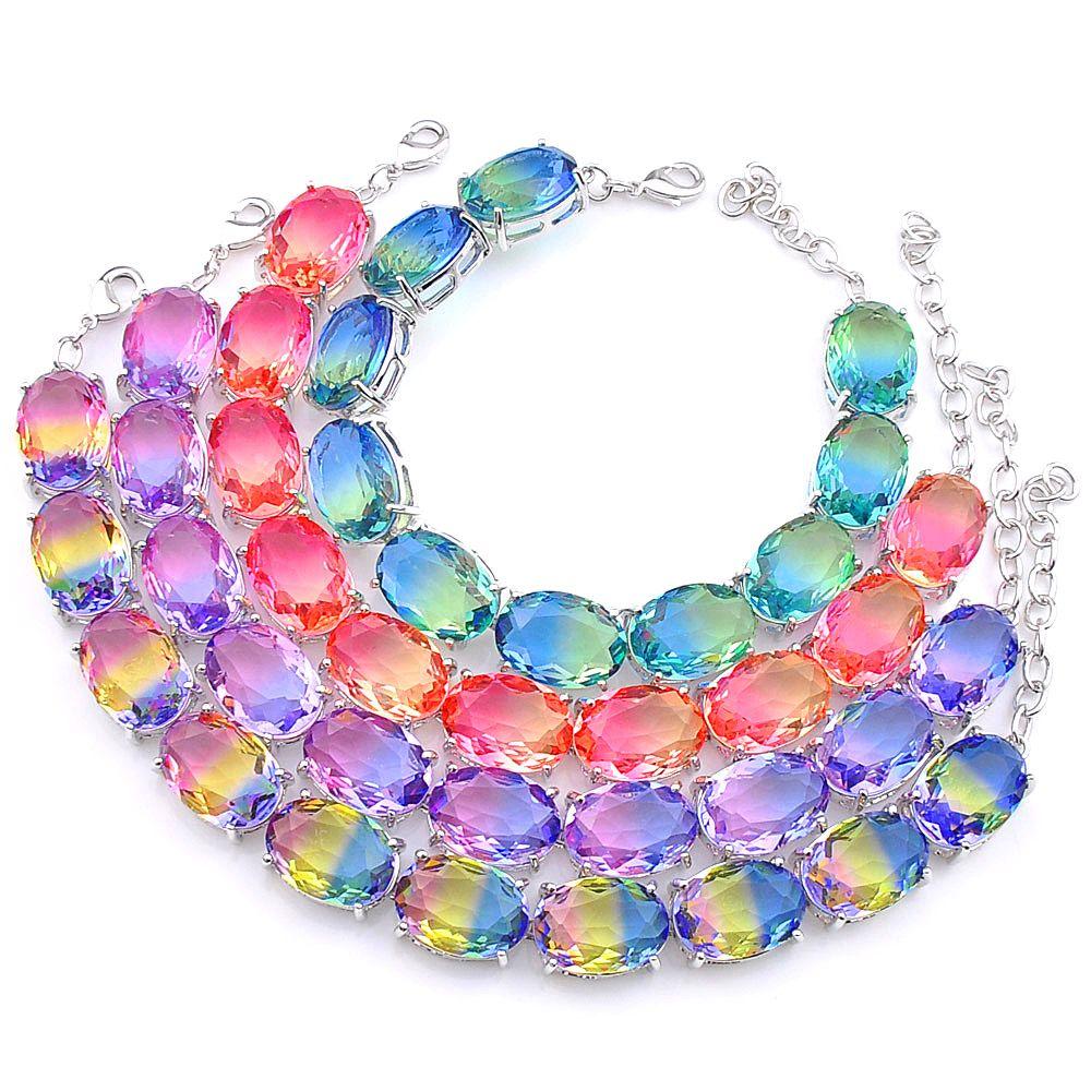 2 sztuk / partia wysokiej jakości owalne cięcie piękna bi-kolorowa bransoletka turmalinowa 925 srebrna modna bransoletka wakacyjna prezent