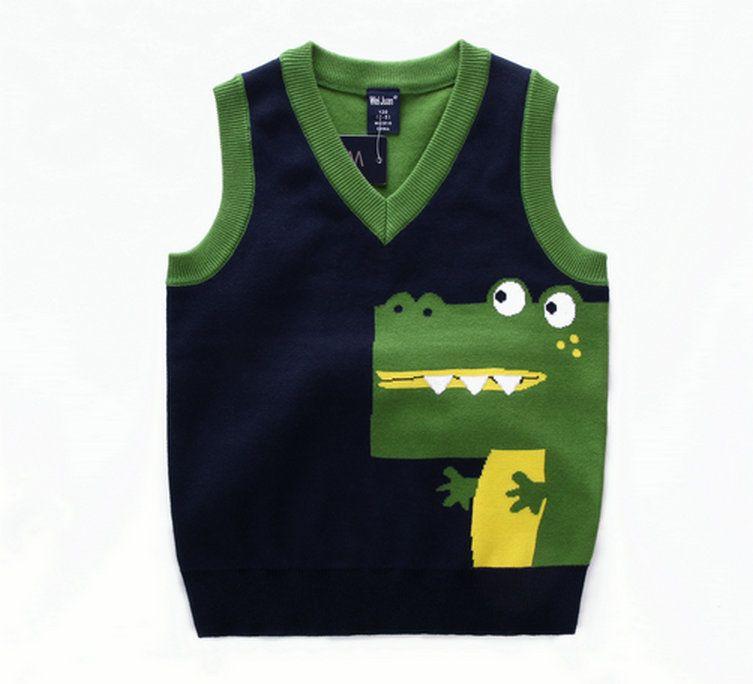 Мода стиль Дети мальчики пуловер вязаный жилет пальто мальчиков вязание крючком хлопка жилет крокодила Дети высокого качества без рукавов свитера