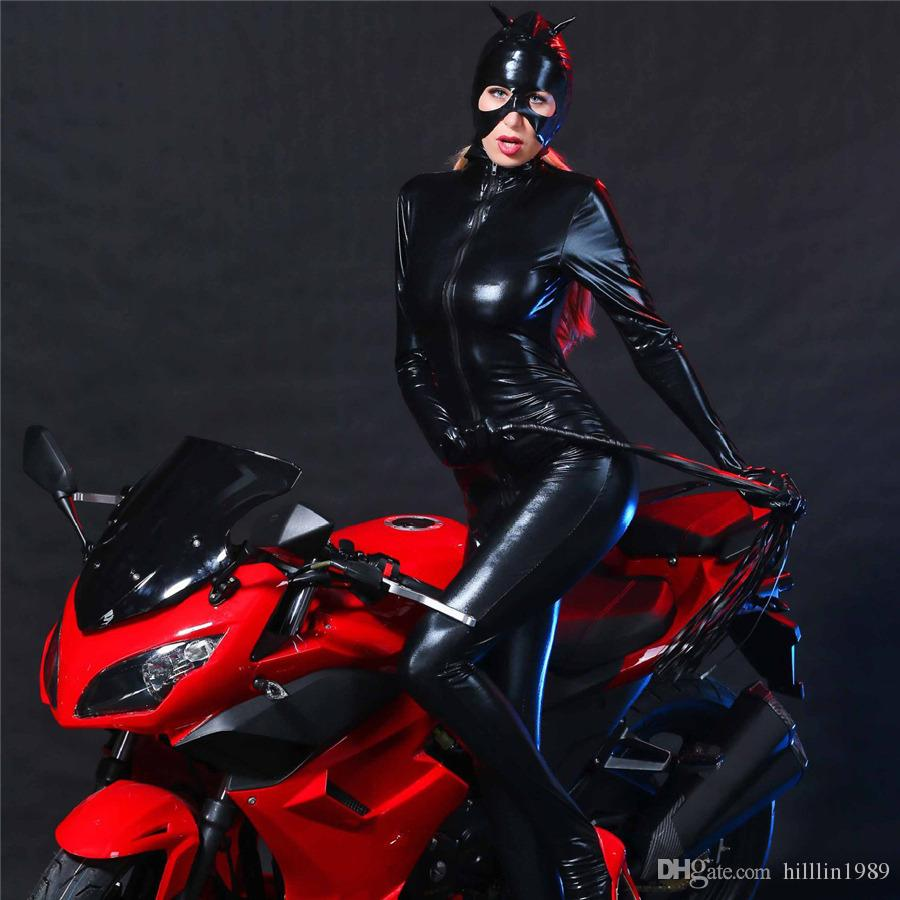 Uniformi Catwoman Catsuit nero sexy Nightclub DS Club Uniformi Catwoman Costume con casco e guanti