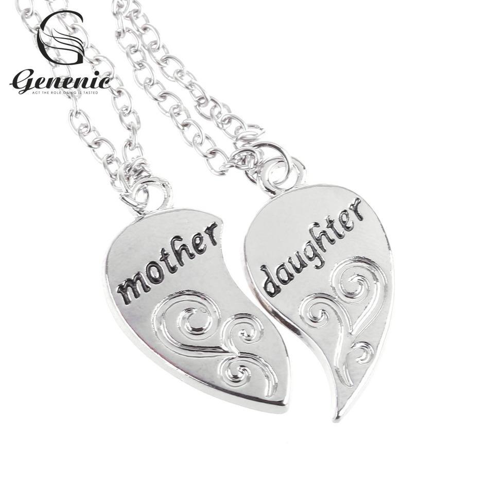 2PC / Set Moda mamma madre figlia amore cuore collana a catena pendente fascino argento nuovi gioielli regali