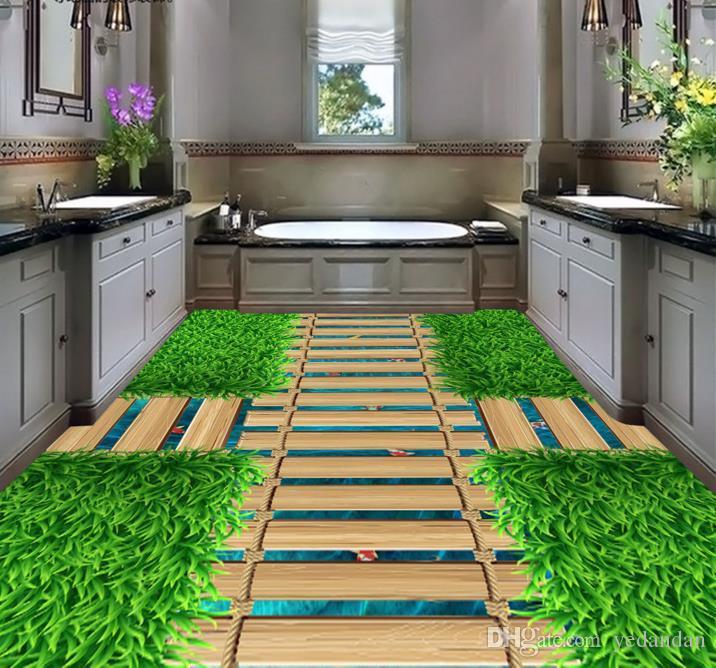 3d Flooring Customize Livingroom Wallpaper Green Grass Bridge