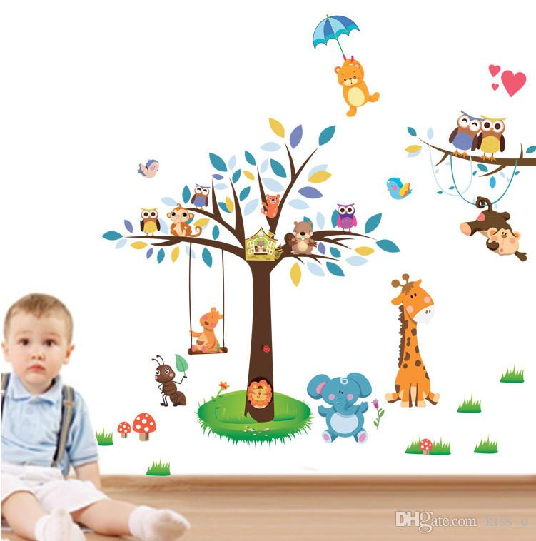 2018 Cartoon Animals Removable Waterproof Cartoon Animal Owl Wall Sticker For Kids Rooms Home Decal Stick on Wall