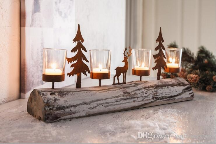 (6шт)Оптовая скандинавском стиле натурального дерева ствол подсвечник набор со свечой Кубок home decor олень подсвечник набор