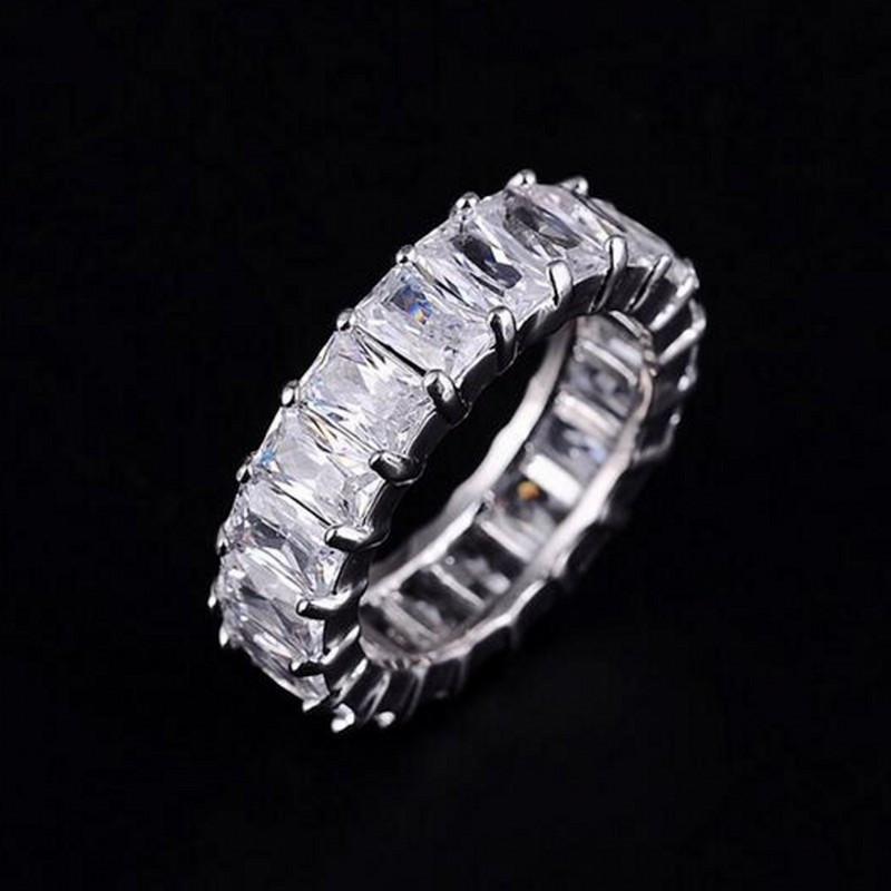 PRATA 925 PAVE AJUSTE praça cheia Diamant CZ ETERNIDADE BAND noivado casamento anéis de pedra Tamanho 6,7,8,9 Y1891206