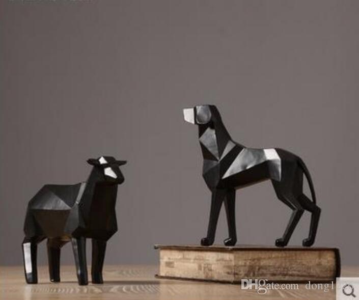 resina creativa cane e pecore figurine vintage statua artigianato arredamento casa decorazione oggetti ornamento resina figurine animali