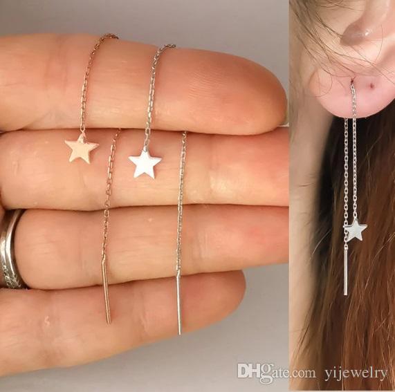 925 Sterling Silver Ear Hilo Largo Cadena Tassel Star Charm Minimato Delicate Mujer Joyería Joyería Pendiente de Cadena de Cadena