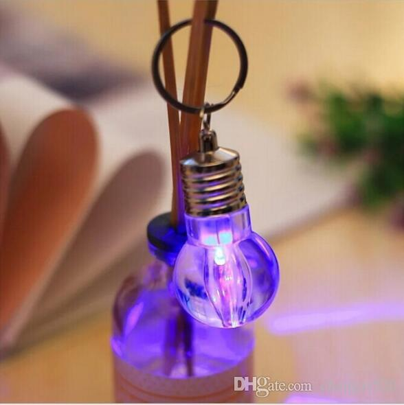 Light bulb LED Colorful Flash Lights Key Chain funny gadgets novelty gags practical jokes prank Halloween christmas toys YH1501