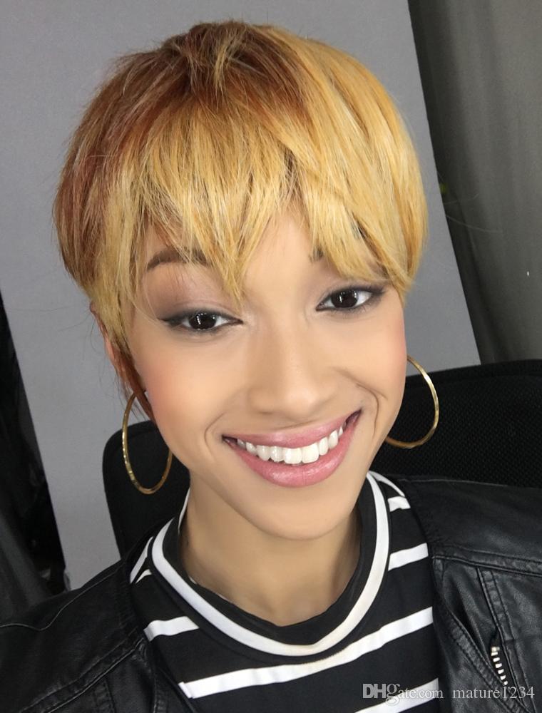 Мужчины или женщины короткие прямые блондинка натуральные парики высокая Tempreture устойчивостью синтетические волосы Мода красивый красивый парики