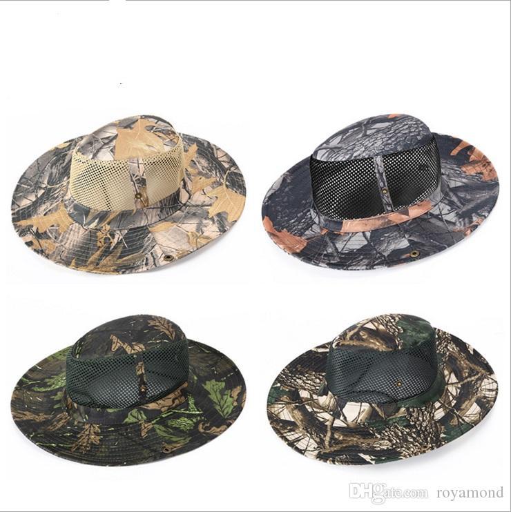 Camuflaje de la montaña sombrero de pesca en la selva sombrero de Benny al aire libre hoja de arce sombrero de red en 8708