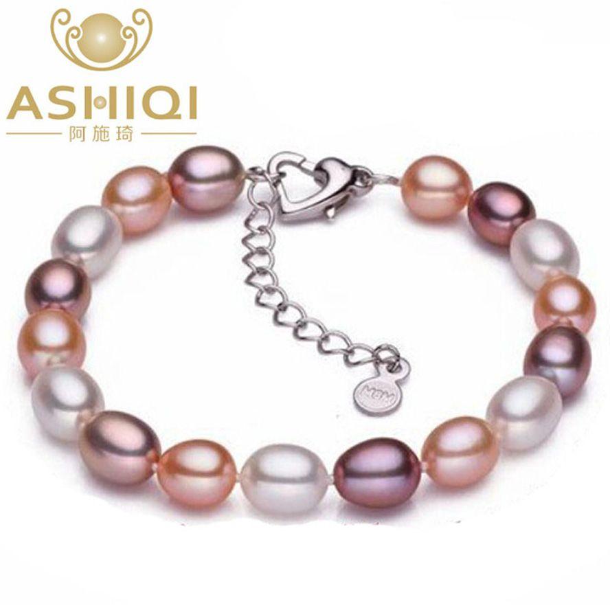 ASHIQI Genuine Multi Água Doce Pulseiras de Pérolas Natural Pérola 6-7mm Charme bead para mulheres presente da jóia