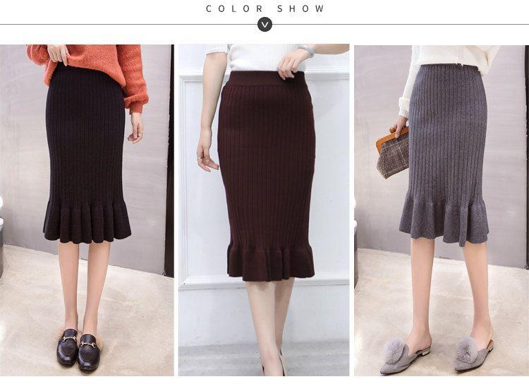 Winter Knitted Skirts Women High Waist Mermaid Skirt Saia Knitting Pack Hip Skirt Women\`s 2019 Casual Bodycon Faldas Mujer (1)