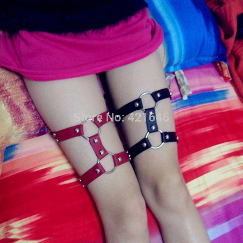 Women New Fashion leather garters punk leg ring handmade Rivet metal O-ring Belt Harajuku double rows elastic