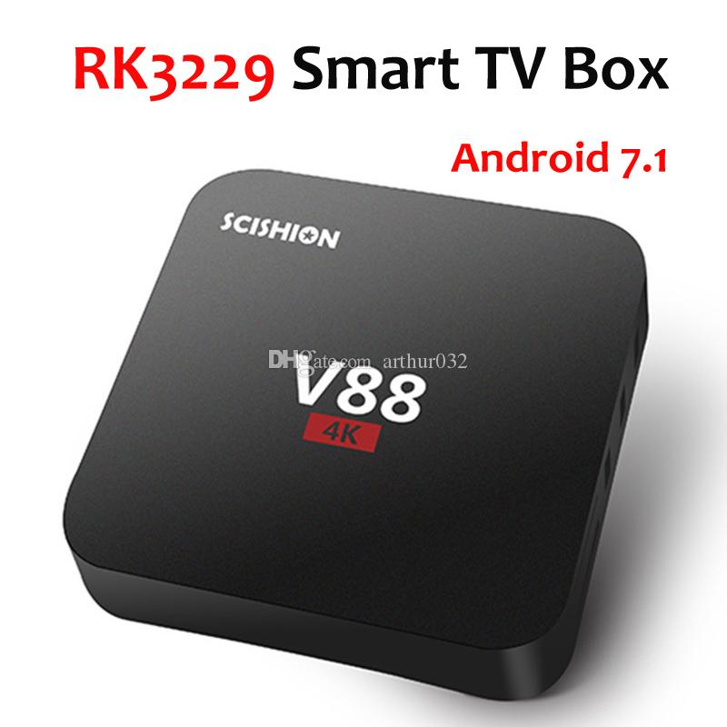 V88 Android 7.1 TV Box RockChip RK3229 4K 1G 8G Quad Core WiFi 3D Smart Set-Top Box Media Player
