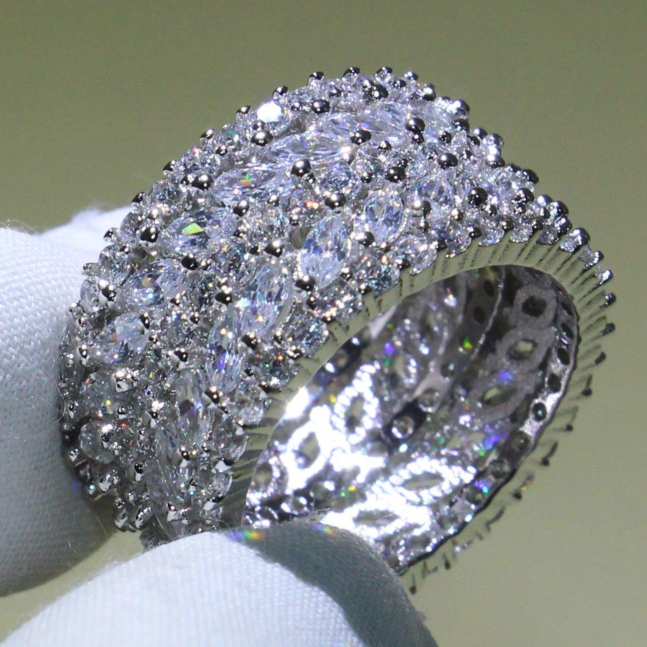 Rozmiar 5-10 Luksusowa biżuteria 925 Sterling Silver 5 rzędów 5a Cubic Cyrkonia Marquise CZ Kochania Pierścionki Biurowe Party Wedding Band Pierścionek dla kobiet Prezent