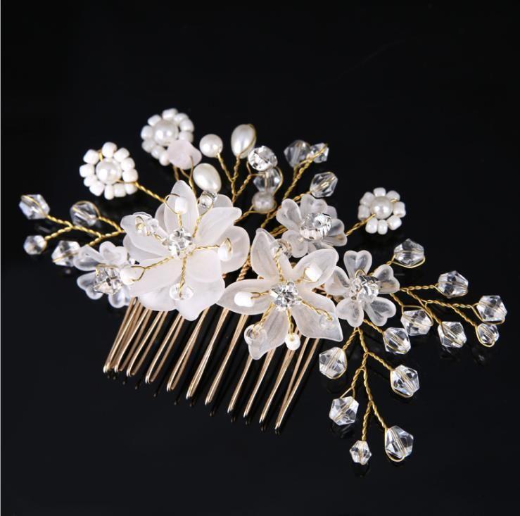 A noiva floresce vestido de noiva branco acessórios pente de cabelo