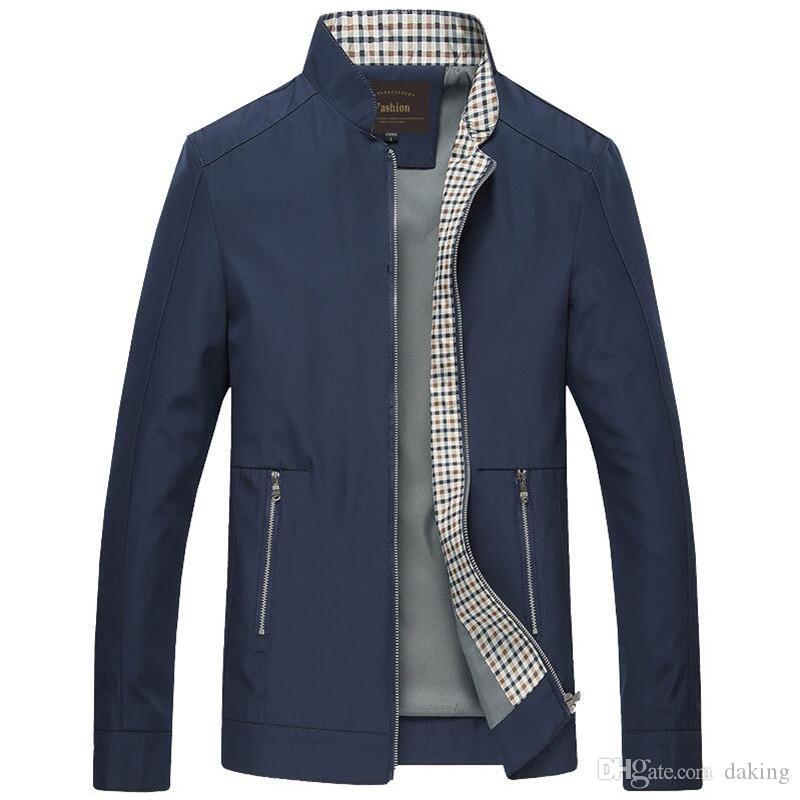 الرجال عادية جاكيتات الخريف أوروبا زيبر كارديجان أسود أزرق شهم العم ملابس خارجية معطف الأزياء سليم وسيم هومبر قمم جيوب