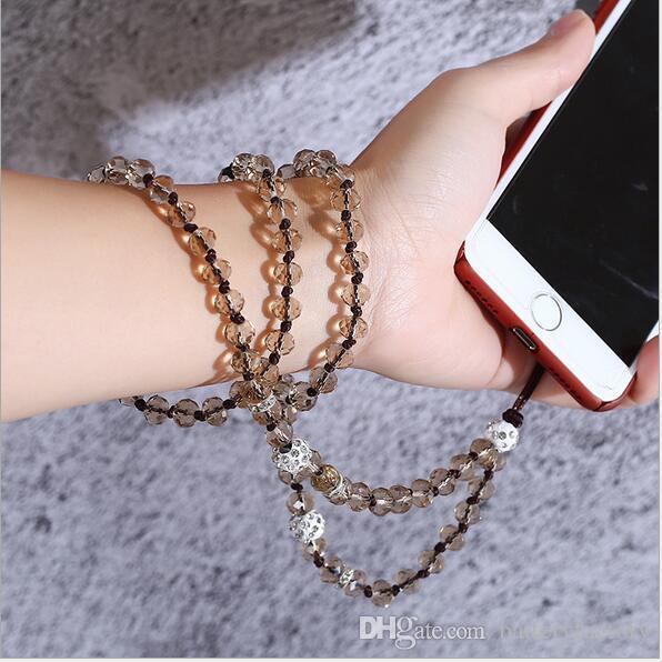 Acollador directo del teléfono móvil de fábrica Puro tejido a mano acollador de cristal rhinestone colgante de cuerda de cuello larga cadena larga