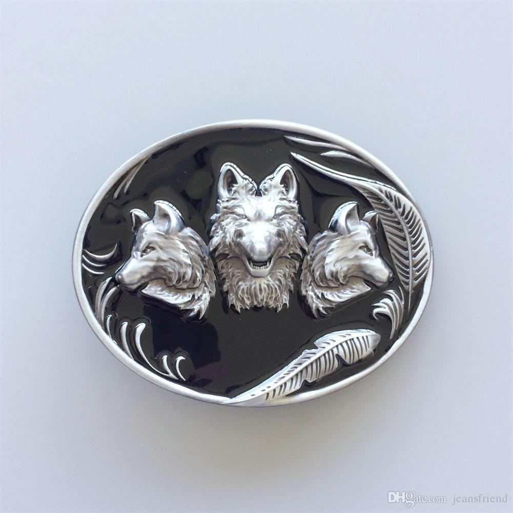 Nouveau Boucle de ceinture en émail noir des loups occidentaux ovales