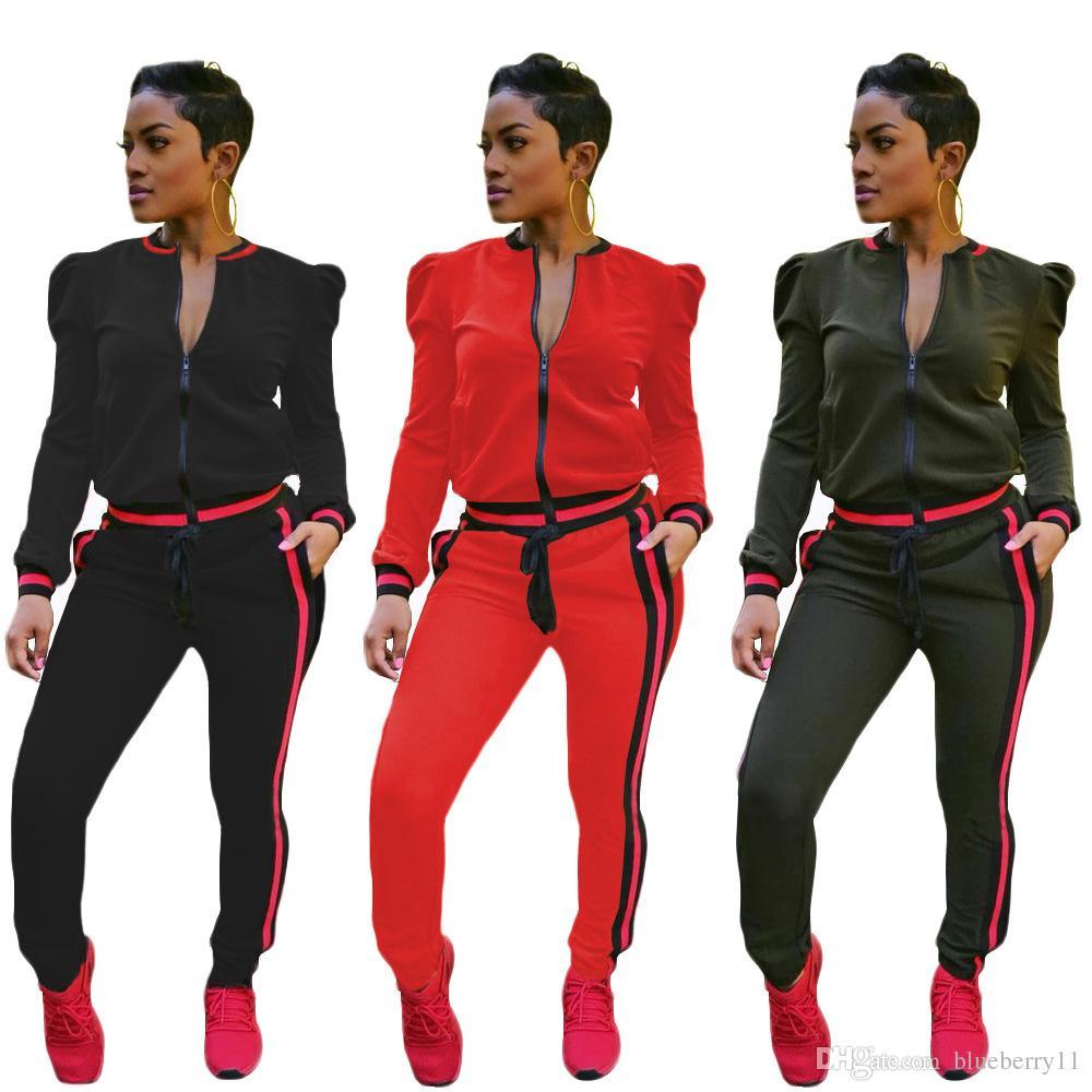 Womens Casual Mode Herbst Frühling langärmelige zweiteilige Jogger Set Damen Fall Trainingsanzug Sweat Anzüge schwarz rot plus Größe S-3XL