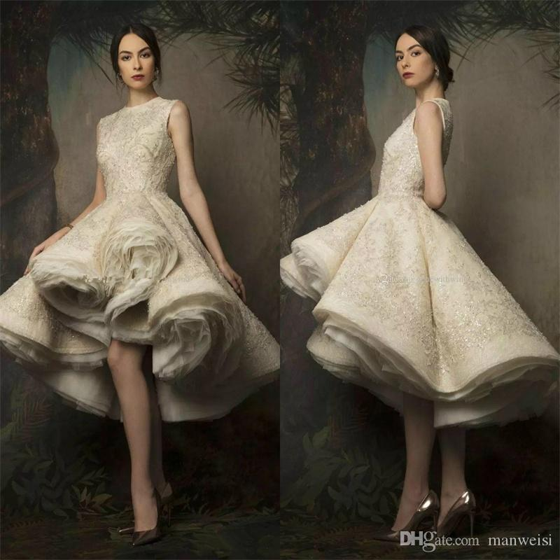 Krikor Jabotian High Low Prom Dresses 2019 Jewel Neck Lace Sequined Evening Gowns Sexy Women Formal Cocktail Dress