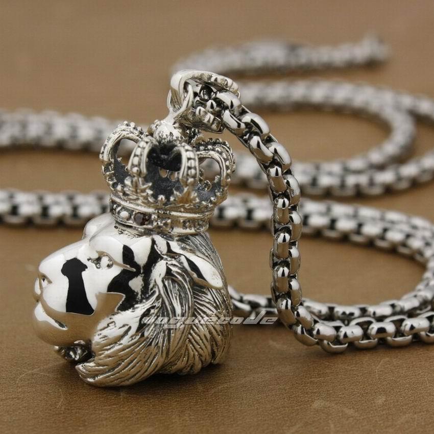 LINSION Crown Guardians King Lion Mens Ciondolo in argento sterling 925 8B002 Collana in acciaio inossidabile 24 pollici