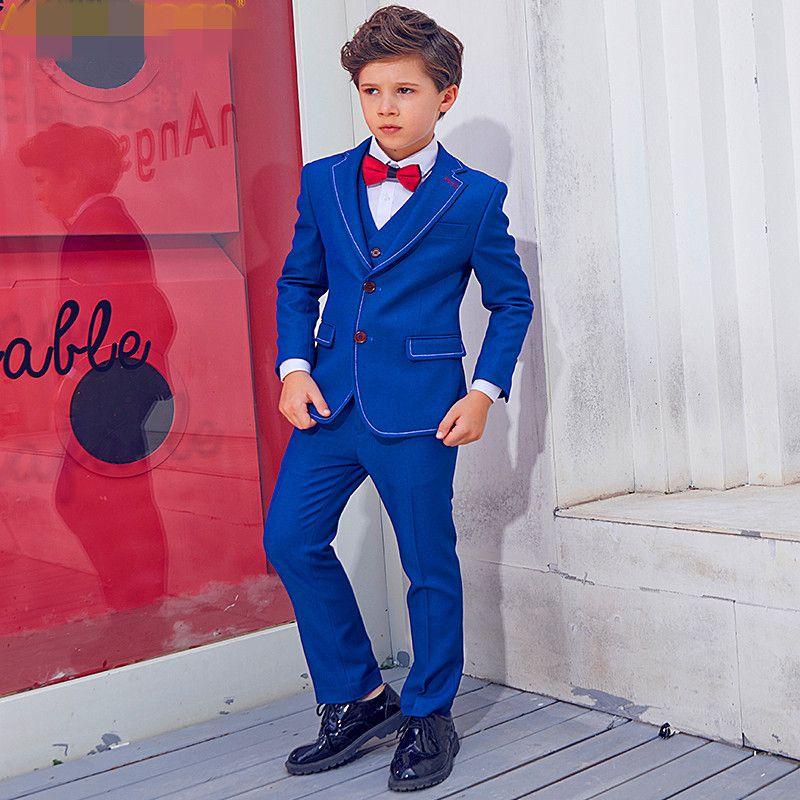 Boy yakışıklı takım elbise üç parçalı takım (ceket + pantolon + yelek) erkek moda ince elbise çocuk mezuniyet töreni resmi elbise