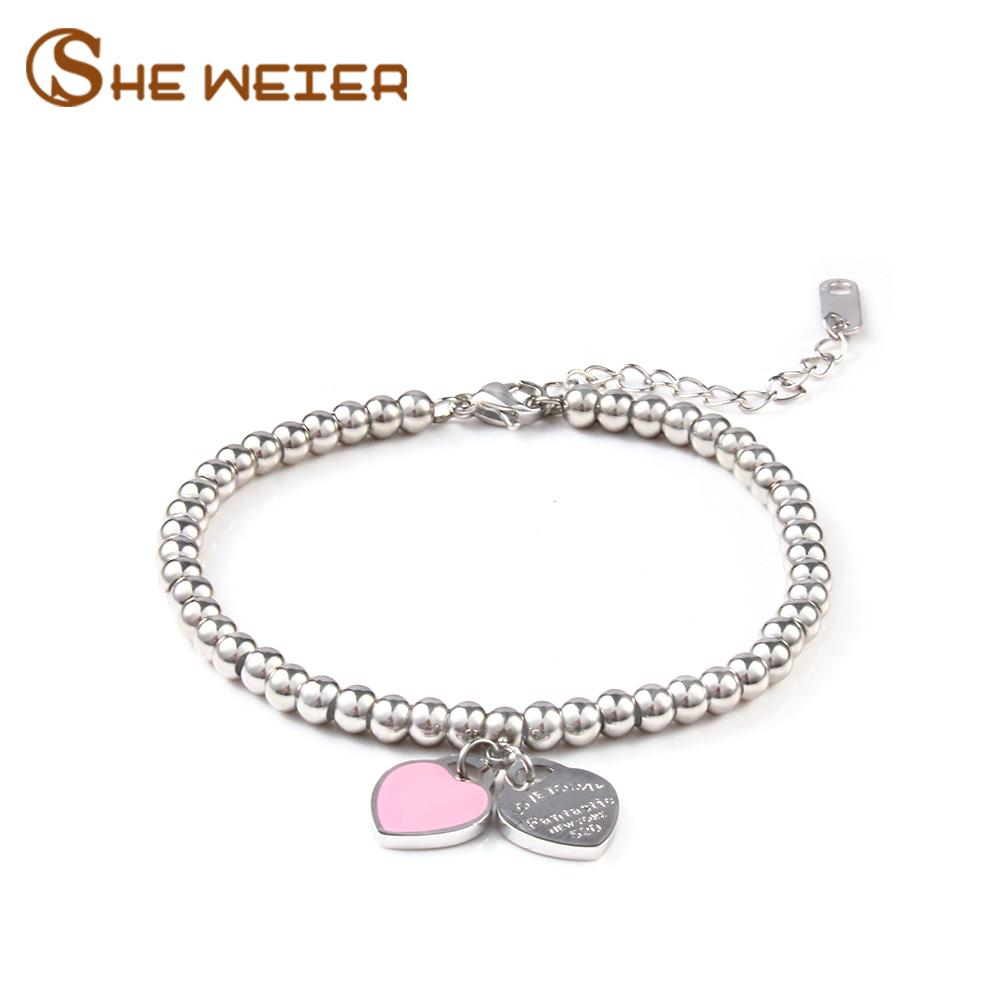 SHE WEIER charms kalp braclet bilezikler kadınlar için boncuk femme hediyeler kadın braclet paslanmaz çelik takı braslet braceles