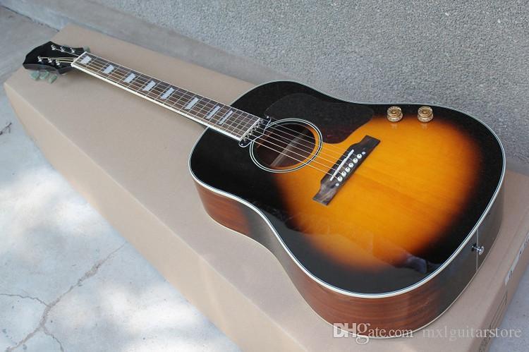 """Фабрика пользовательские 41 """" табак Sunburst акустическая гитара, Палисандр гриф, белый жемчуг Ладу Inaly, можно добавить пикап, могут быть настроены"""