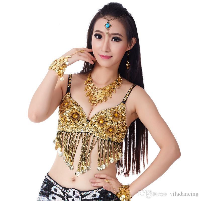 Belly Dance Bras Handmade Sequins Tassel Beads Club Padded tank top bellly dancing bra