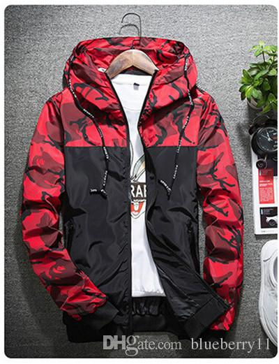 가을 위장 재킷 남성 패션 인쇄 후드 폭격기 코트 슬림 피트 남성 윈드 캐주얼 의류 겉옷 M-2XL
