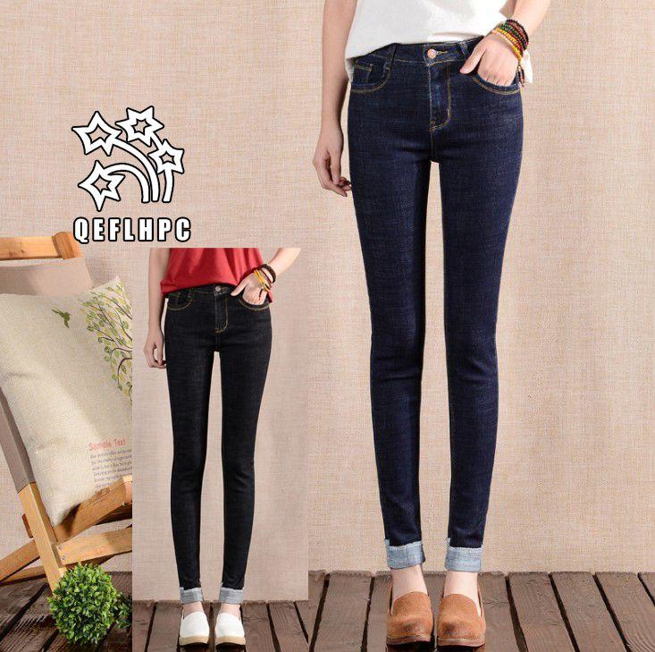 Женские джинсы Capris Сексуальные джинсы скинни с заниженной талией Узкие джинсовые брюки Slim Fit Прямые байкерские джинсы скинни с рваными джинсами A1702