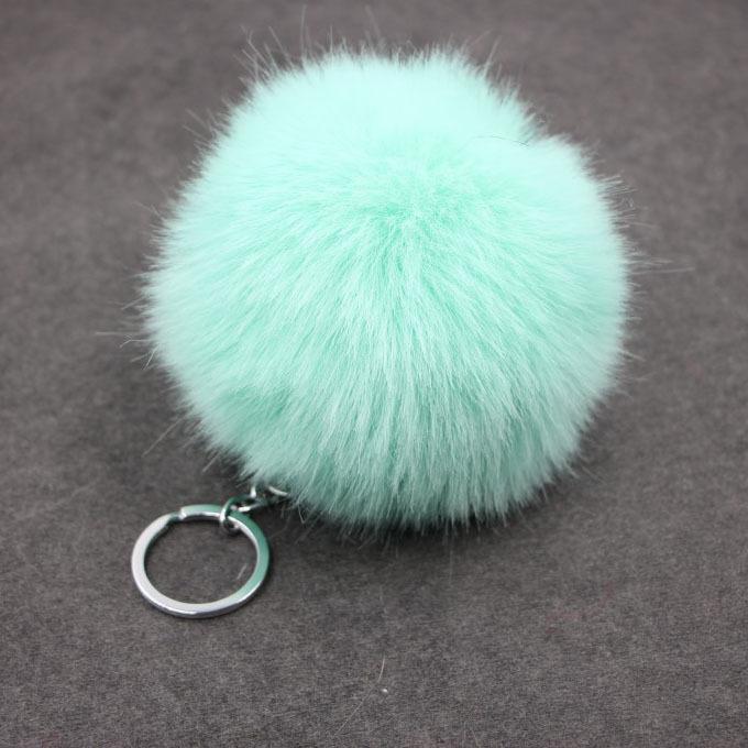 Nette gefälschte Kaninchen-Pelz-Softball-Pompom Keychain für Frauen sacken Autos Pom Pom Fluffy Schlüsselanhänger Schlüsselanhänger Porte Clef Charm