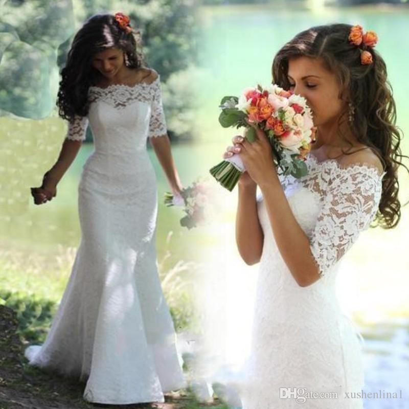Pełna Koronkowa Syrenka Połowa Rękaw Suknie Ślubne Eleganckie Off Ramię Lace-Up Długość Piętro Długość Suknie Ślubne Vintage Wedding Wedding Dres