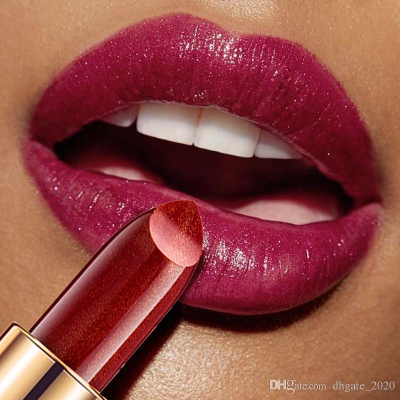 Droshospipping 새로운 9 컬러 handaiyan 인어 반짝 반짝 빛나는 금속 립스틱 진주 빛 립스틱 선물로 립스틱을 변경