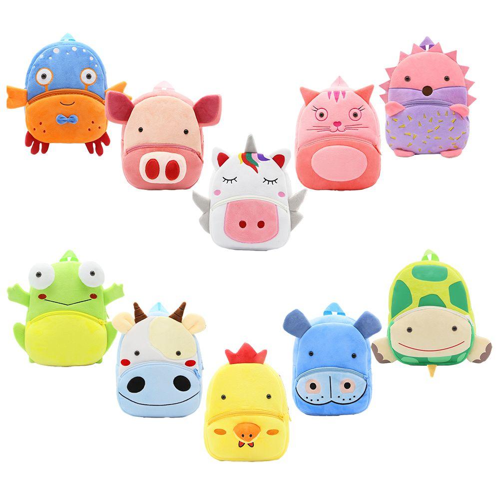 Bébé en peluche Cartton Sacs à dos filles garçons épaules Unicorn Piggy Kitten Tortue Panda Sacs à dos Kindergarten 2-4T
