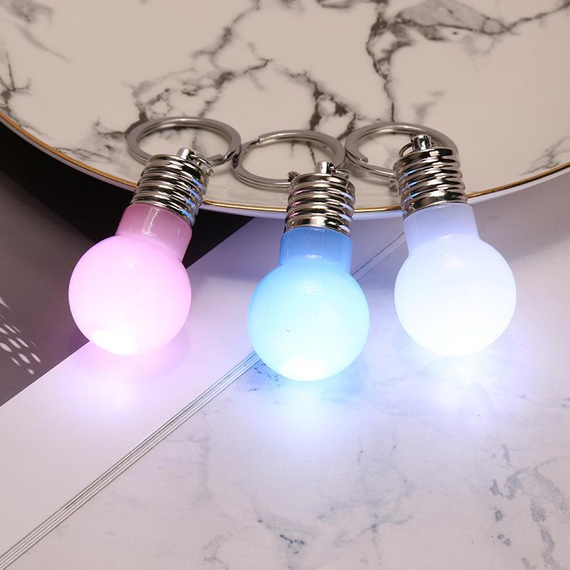 Jelly color new exotic light bulb key chain creative LED colorful light bulb key pendant can not break
